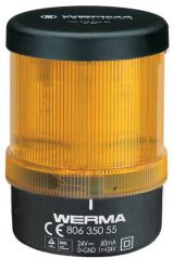 WERMA 806 Series 806.350.55 Monitorable LED Permanent Beacon Light - 24V DC, Yellow Colour