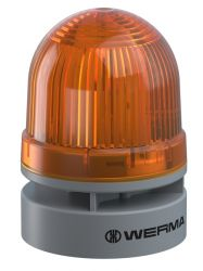 WERMA EvoSignal 460.320.74 Yellow Twin Flash Beacon with Sounder, 12V AC/DC (Additional Mounting Adapter Needed)