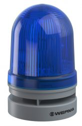 WERMA EvoSignal 461.520.70, Blue Twin Flash Beacon with Sounder, 12/24V AC/DC (Additional Mounting Adapter Needed)