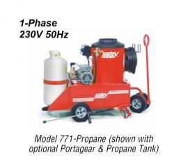 HOTSY 771 1.109-611.0-50Hz Hot Water Pressure Washer - 1-Phase 230V 50Hz Electric Driven, LP Fired, 3 GPM, 1500 PSI, 3 HP